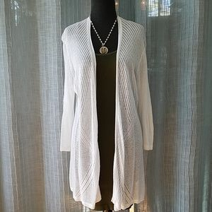 Charter Club Light White Knit Cover Up Large